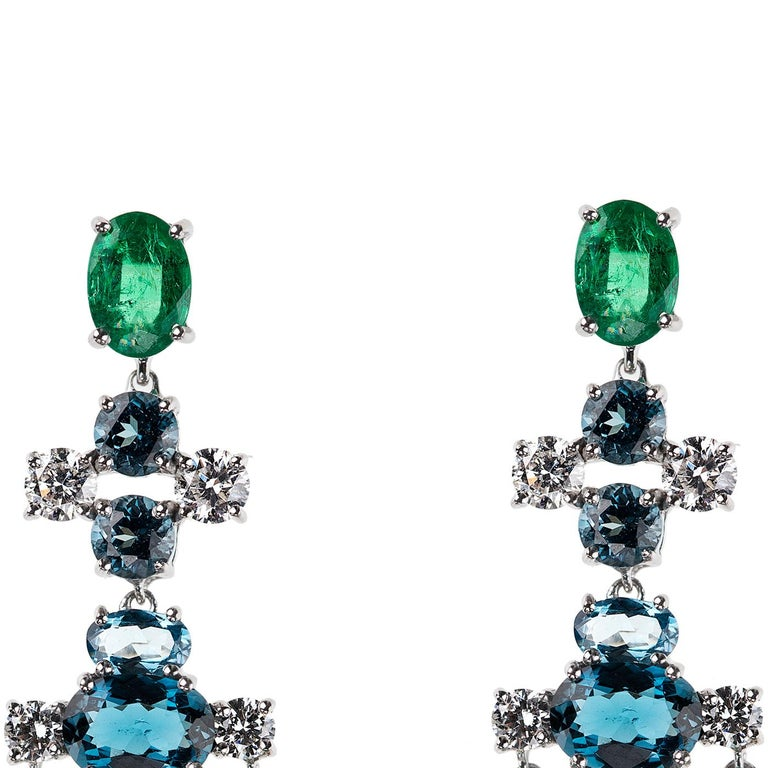 Nikos Koulis Eden Collection 18K white gold earrings with 3.83 cts emeralds, 1.04 cts white diamonds, 4.66 cts london blue topazes