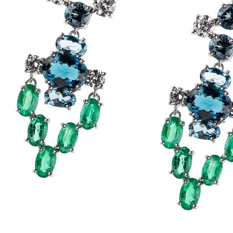 Contemporary Nikos Koulis 18 Karat White Gold White Diamond Emerald Blue Topaz Earrings For Sale