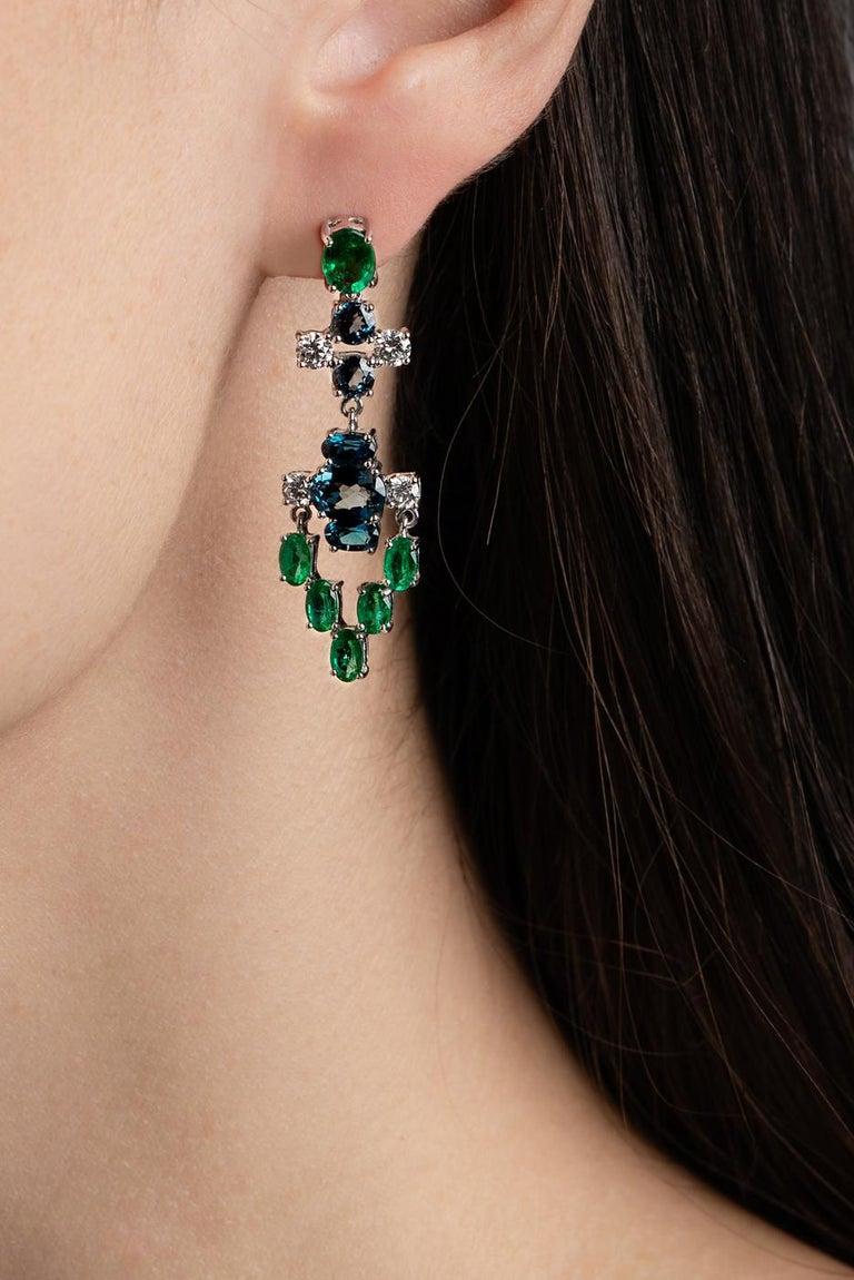 Nikos Koulis 18 Karat White Gold White Diamond Emerald Blue Topaz Earrings In New Condition For Sale In Athens, Attic