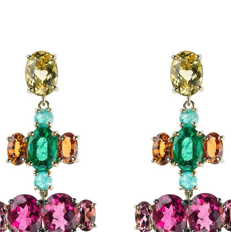 Nikos Koulis Eden Collection one-of-a-kind 18K yellow gold earrings with 3.57 cts rubellites, 1.60 cts yellow beryls, 1.48 cts orange sapphires, 1.34 cts pink beryls, 1 ct green beryls, 0.56 cts emeralds, 0.37 cts white diamonds