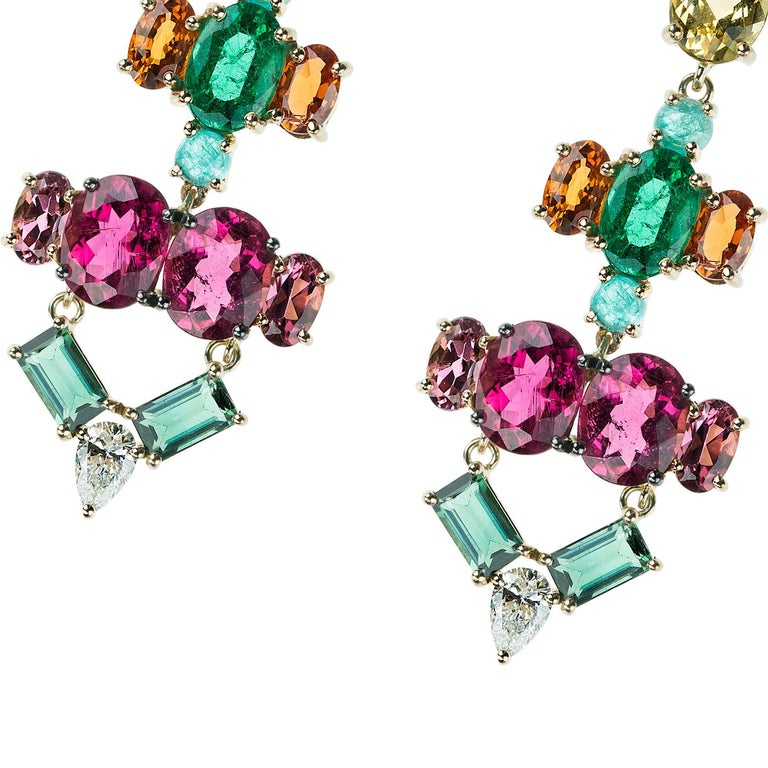 Contemporary Nikos Koulis 18 Kt Yellow Gold Rubellite Yellow Beryl Orange Sapphire Earrings For Sale