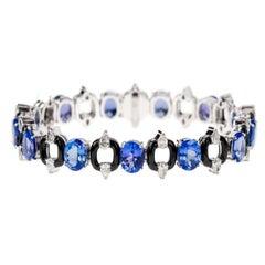 Nikos Koulis 18 Karat White Gold Tanzanite White Diamond Black Enamel Bracelet