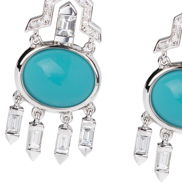 Nikos Koulis Oui collection 18K white gold earrings with 6.24 cts turquoises and 1.43 cts white diamonds