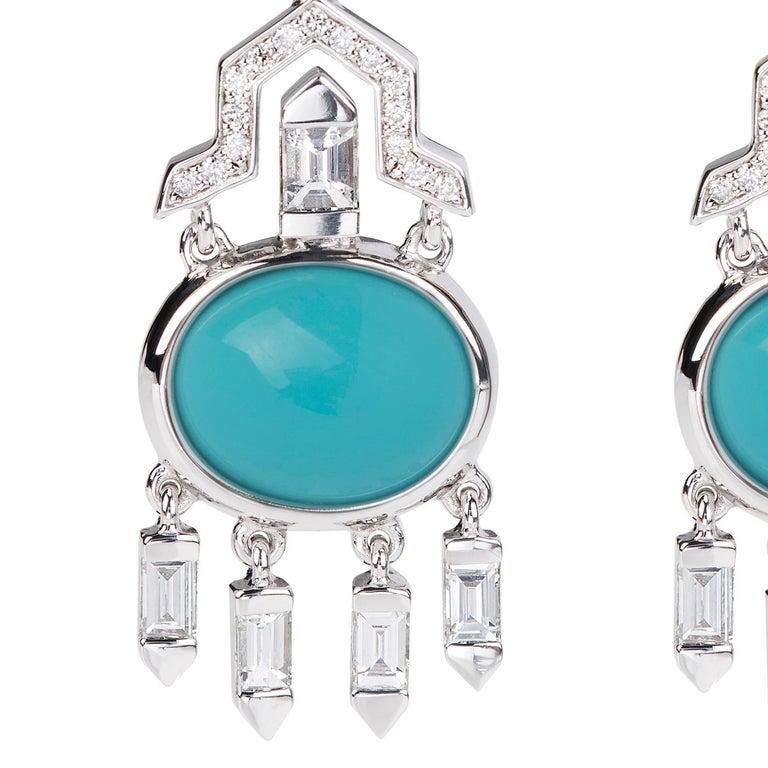 Contemporary Nikos Koulis 18 Karat White Gold Turquoise White Diamond Earrings For Sale