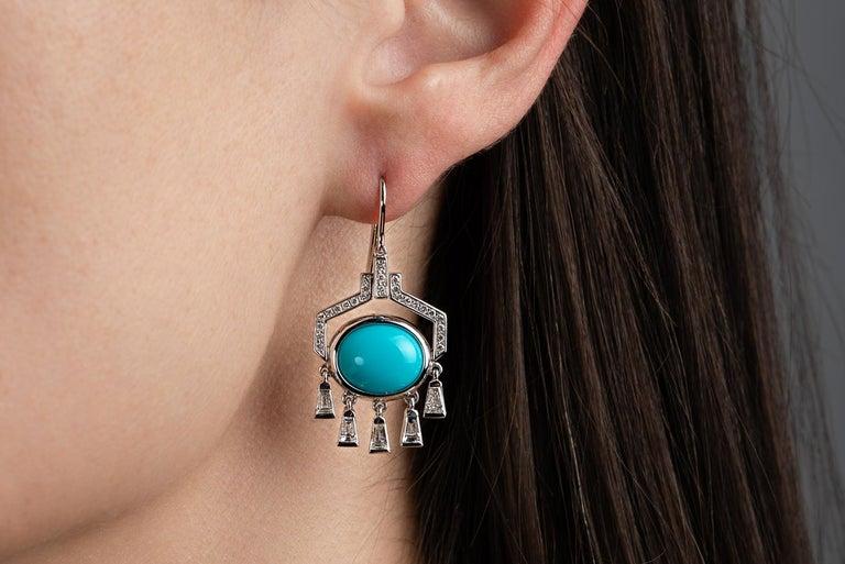 Baguette Cut Nikos Koulis 18 Karat White Gold Turquoise White Diamond Earrings For Sale