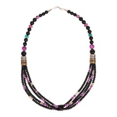 Tommy Singer Onyx and Charoite Necklace
