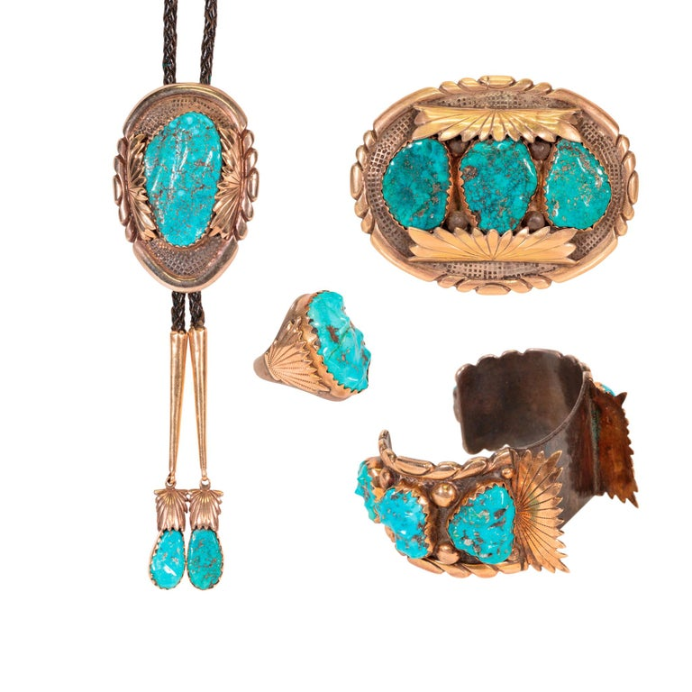 Navajo Turquoise and Gold Bracelet, Ring, Bolo and Buckle Set For Sale