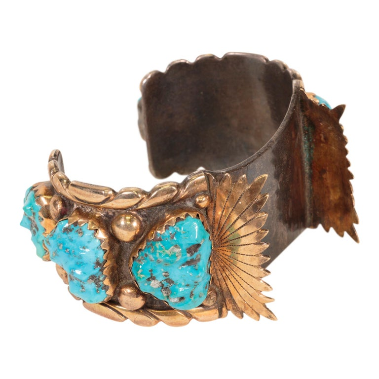Navajo Turquoise and Gold Bracelet, Ring, Bolo and Buckle Set For Sale 2
