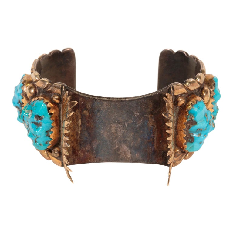Navajo Turquoise and Gold Bracelet, Ring, Bolo and Buckle Set For Sale 3