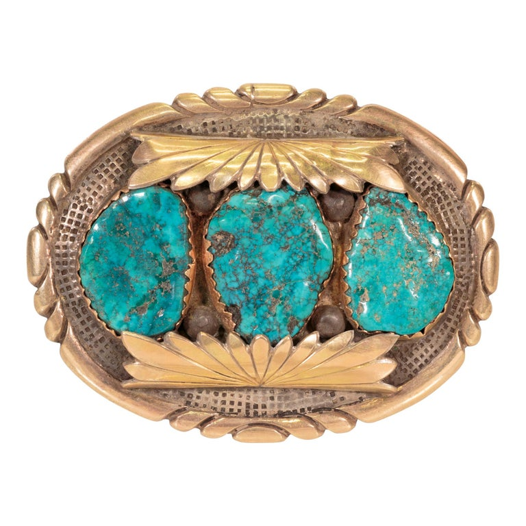 Native American Navajo Turquoise and Gold Bracelet, Ring, Bolo and Buckle Set For Sale