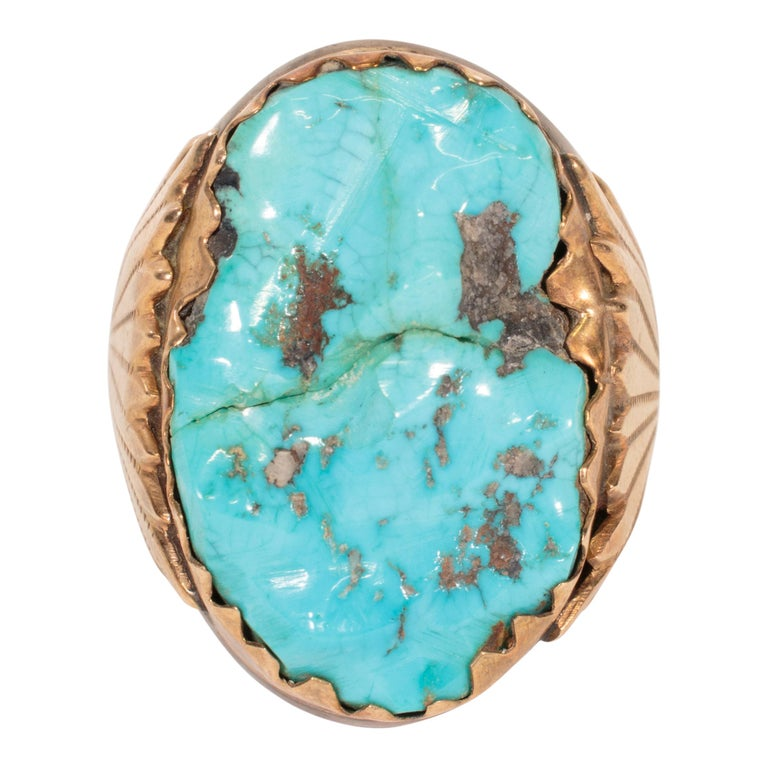 Women's or Men's Navajo Turquoise and Gold Bracelet, Ring, Bolo and Buckle Set For Sale
