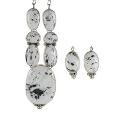 Navajo White Buffalo Turquoise Necklace and Earrings