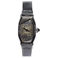 1930s Ladies Art Deco White 14 Karat Gold Enamel Watch