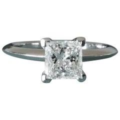 Tiffany & Co. Platinum and Diamond Princess Cut Engagement Ring .79 Carat G VS1