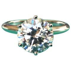 Tiffany & Co. Platinum Diamond 1.30 Carat Round Engagement Ring