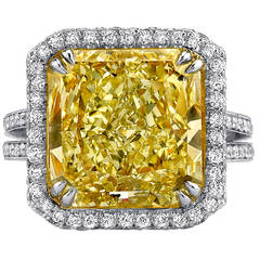 8.94 Carat GIA Cert Yellow Diamond Platinum Ring