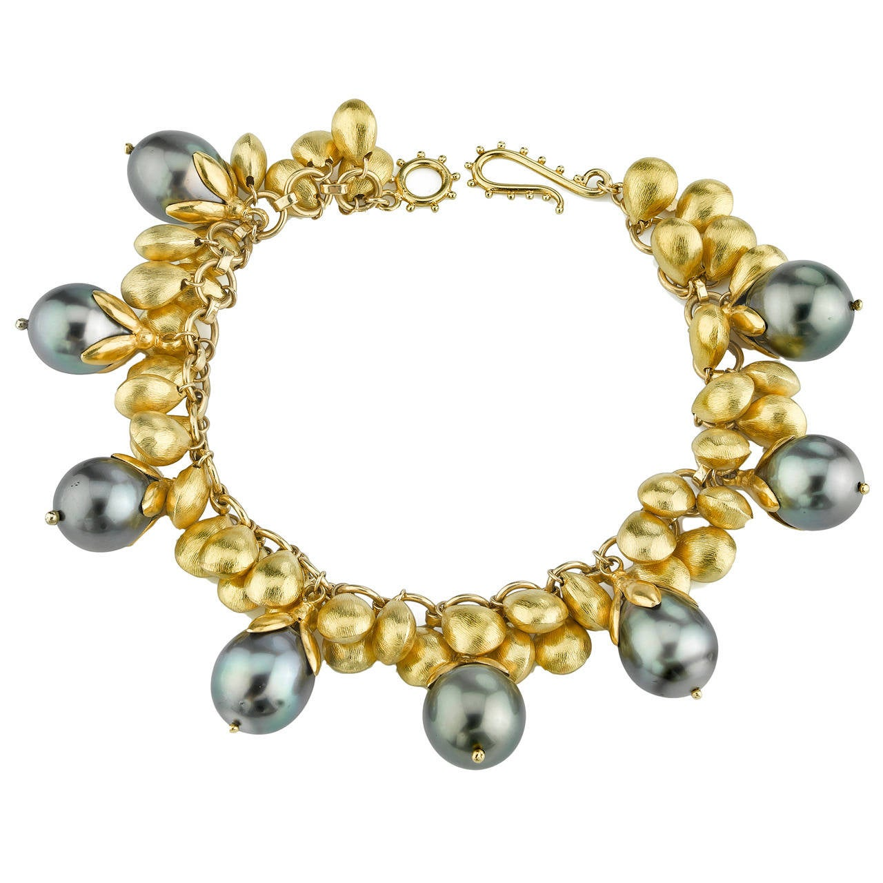 Tahitian pearl yellow gold bracelet at 1stdibs for Triple j fine jewelry