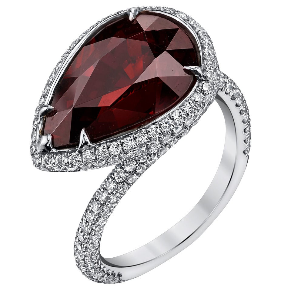 garnet white gold pear shaped ring at 1stdibs