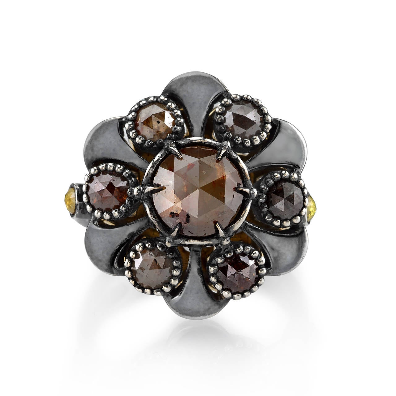 Rustic Diamond: Rustic Diamond Organic Silver Flower Ring For Sale At 1stdibs