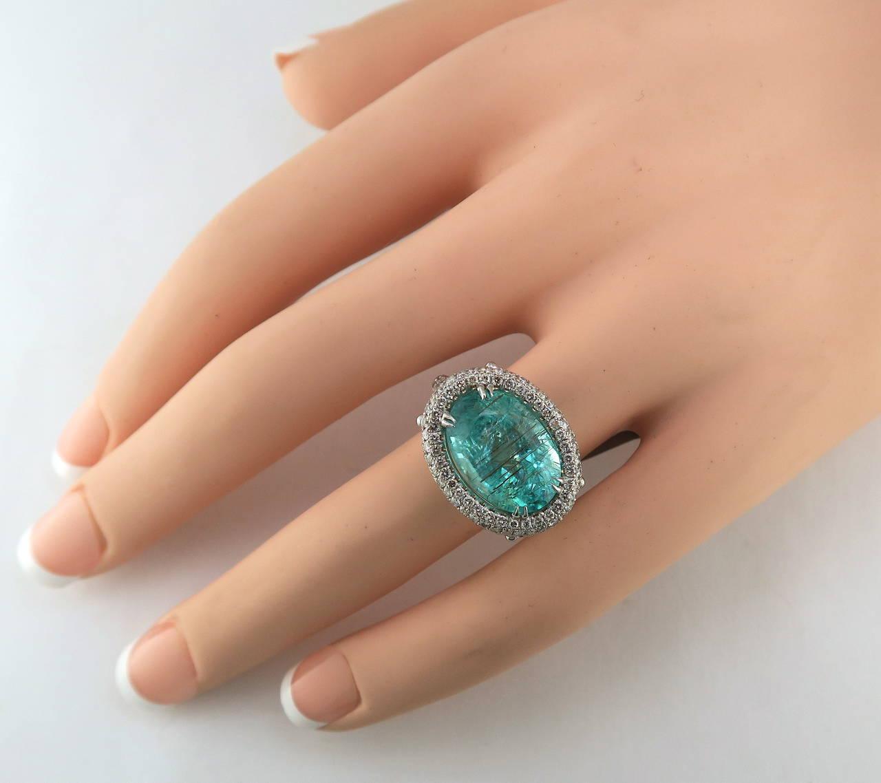 Gia Cert Paraiba Tourmaline Diamond Gold Ring At 1stdibs