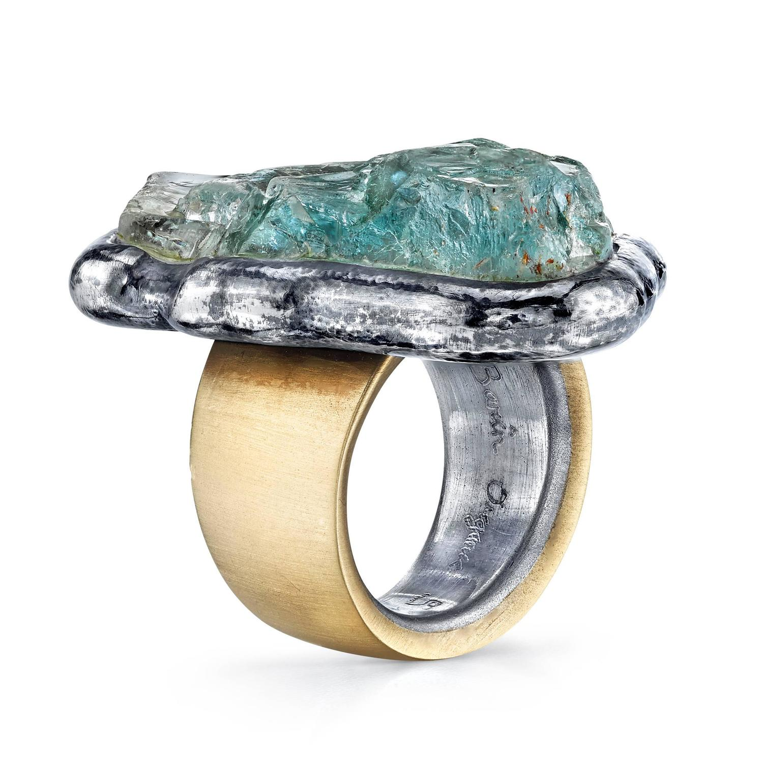 green beryl organic silver gold ring for sale at 1stdibs