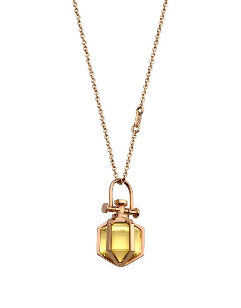 b87a8081e69d5 Modern Sacred Minimalism 18k Rose Gold Talisman Amulet Necklace w/ Lemon  Citine