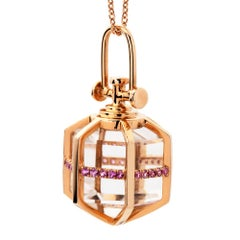REBECCA LI Six Senses Talisman Necklace, 18k Gold with Sapphire and Rock Crystal
