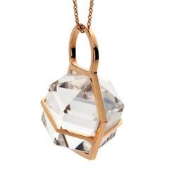 Rebecca Li Six Senses Talisman Necklace 18 Karat Gold Large Natural Rock Crystal
