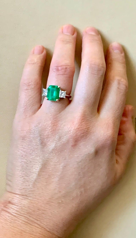 4.5 Carat Emerald Cut Colombian Emerald and 1.4 Carat Diamond 18 Karat Gold Ring 2
