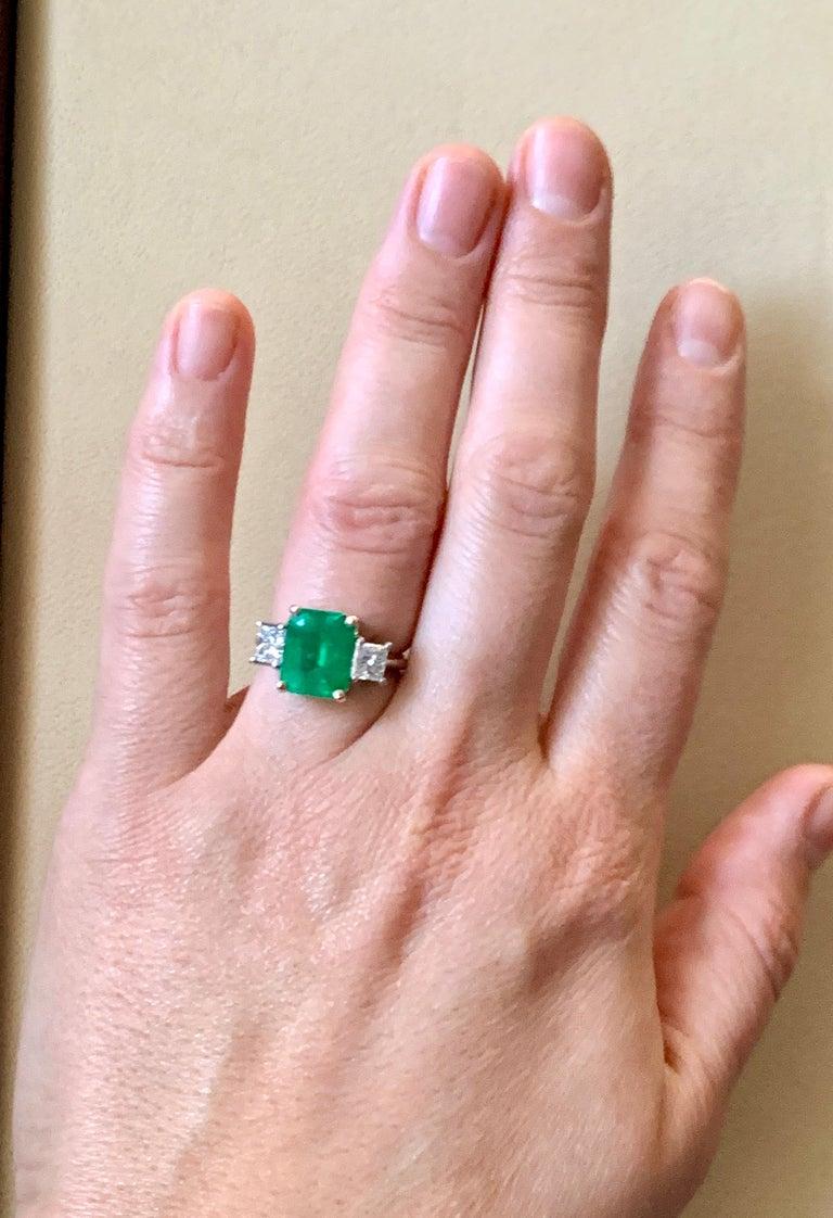 4.5 Carat Emerald Cut Colombian Emerald and 1.4 Carat Diamond 18 Karat Gold Ring 1