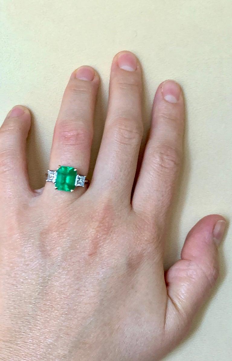 4.5 Carat Emerald Cut Colombian Emerald and 1.4 Carat Diamond 18 Karat Gold Ring 4