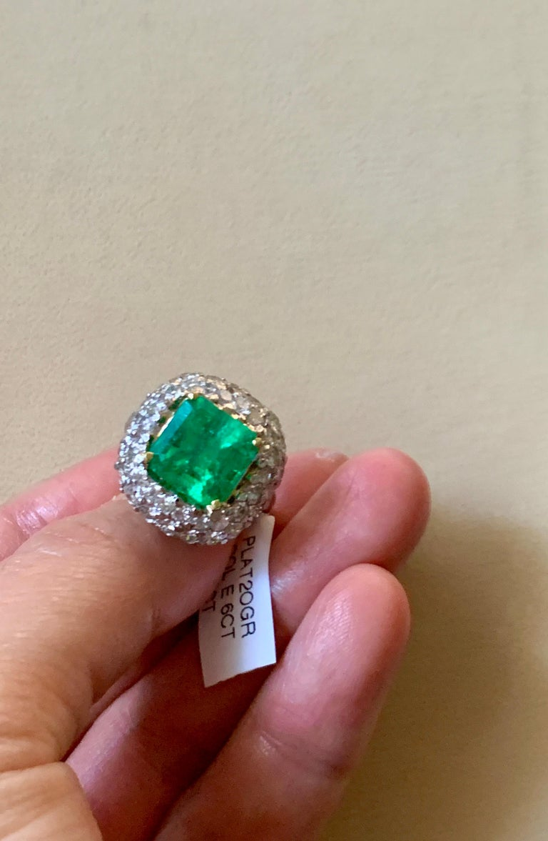 6 Carat Emerald Cut Colombian Emerald and 4 Carat Diamond Ring Platinum Two-Tone For Sale 11
