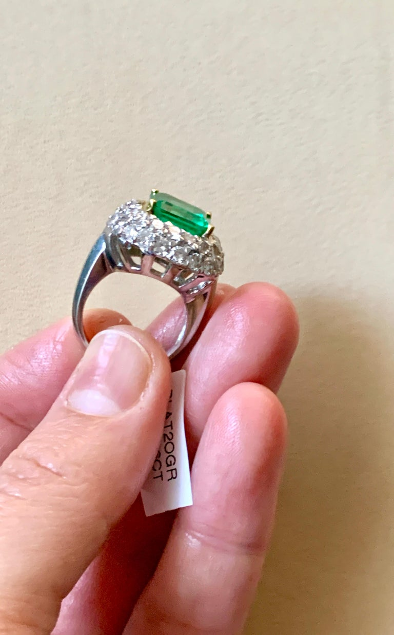 6 Carat Emerald Cut Colombian Emerald and 4 Carat Diamond Ring Platinum Two-Tone For Sale 12