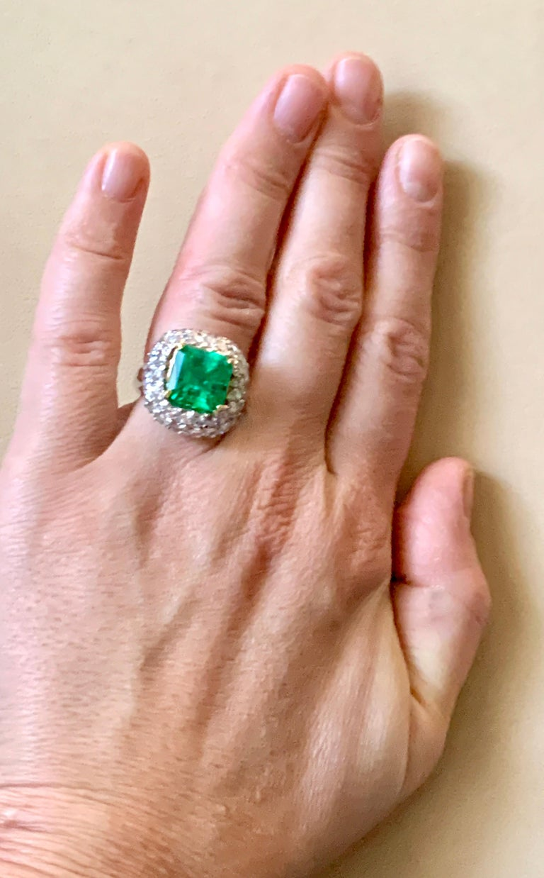 6 Carat Emerald Cut Colombian Emerald and 4 Carat Diamond Ring Platinum Two-Tone For Sale 14