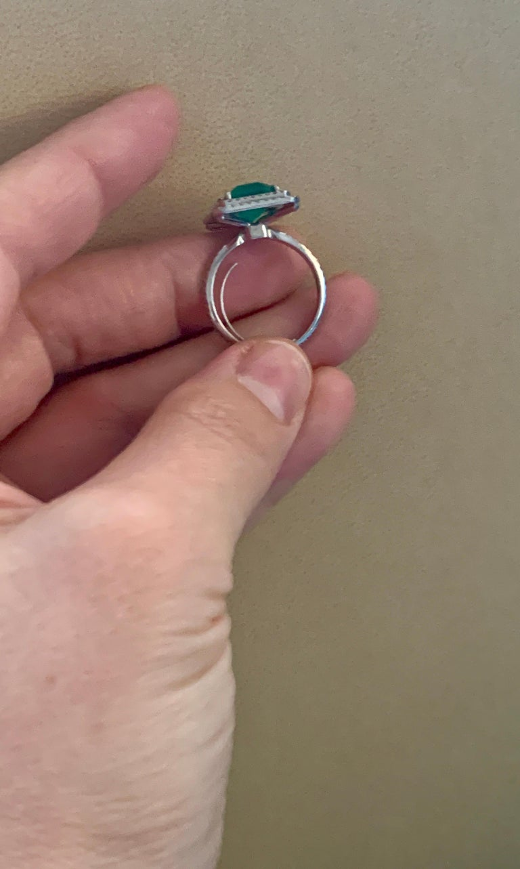 4 Carat Emerald Cut Colombian Emerald and Diamond Platinum Ring Estate For Sale 3
