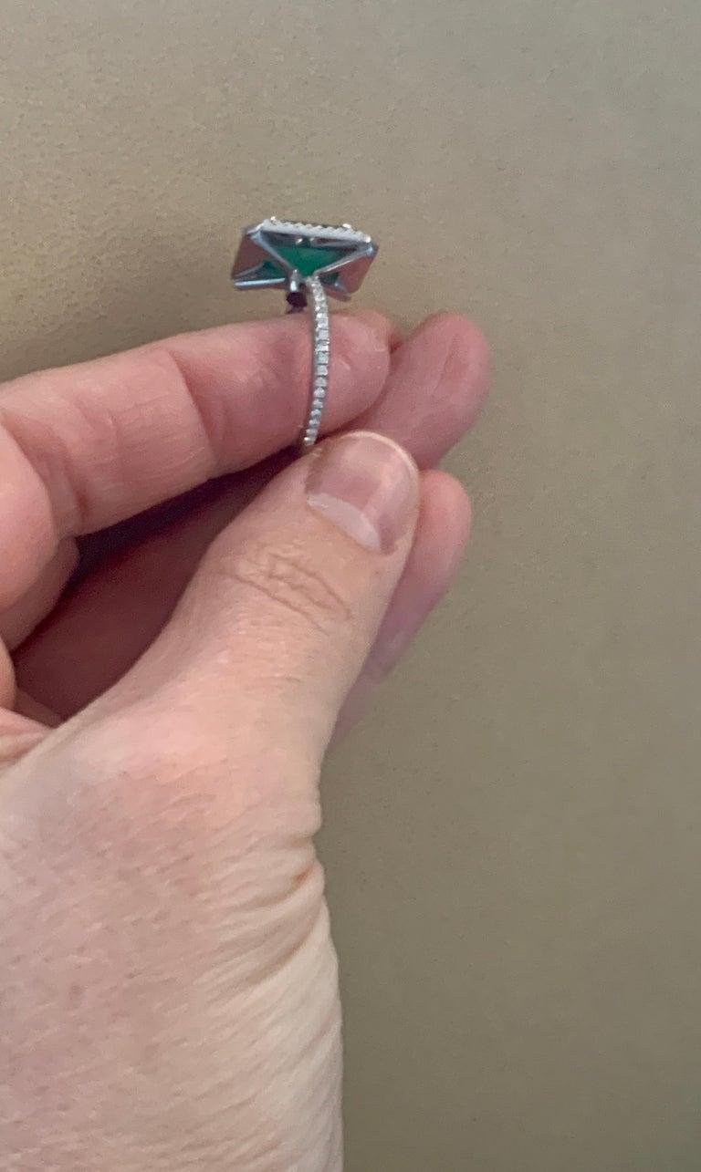 4 Carat Emerald Cut Colombian Emerald and Diamond Platinum Ring Estate For Sale 4