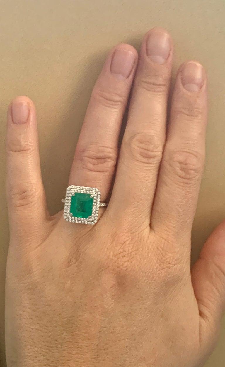 4 Carat Emerald Cut Colombian Emerald and Diamond Platinum Ring Estate For Sale 5