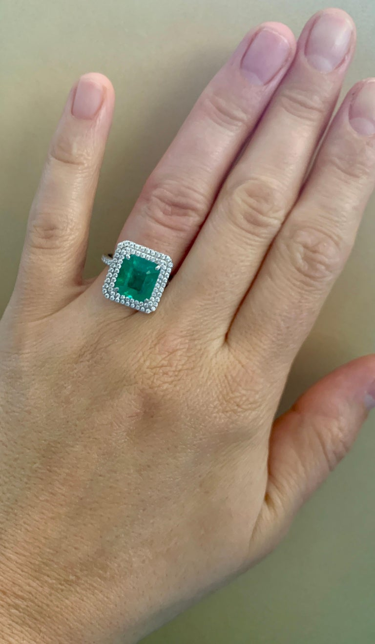 4 Carat Emerald Cut Colombian Emerald and Diamond Platinum Ring Estate For Sale 6