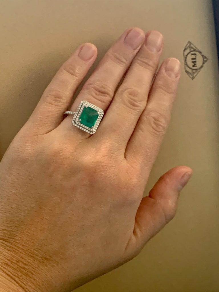 4 Carat Emerald Cut Colombian Emerald and Diamond Platinum Ring Estate For Sale 7