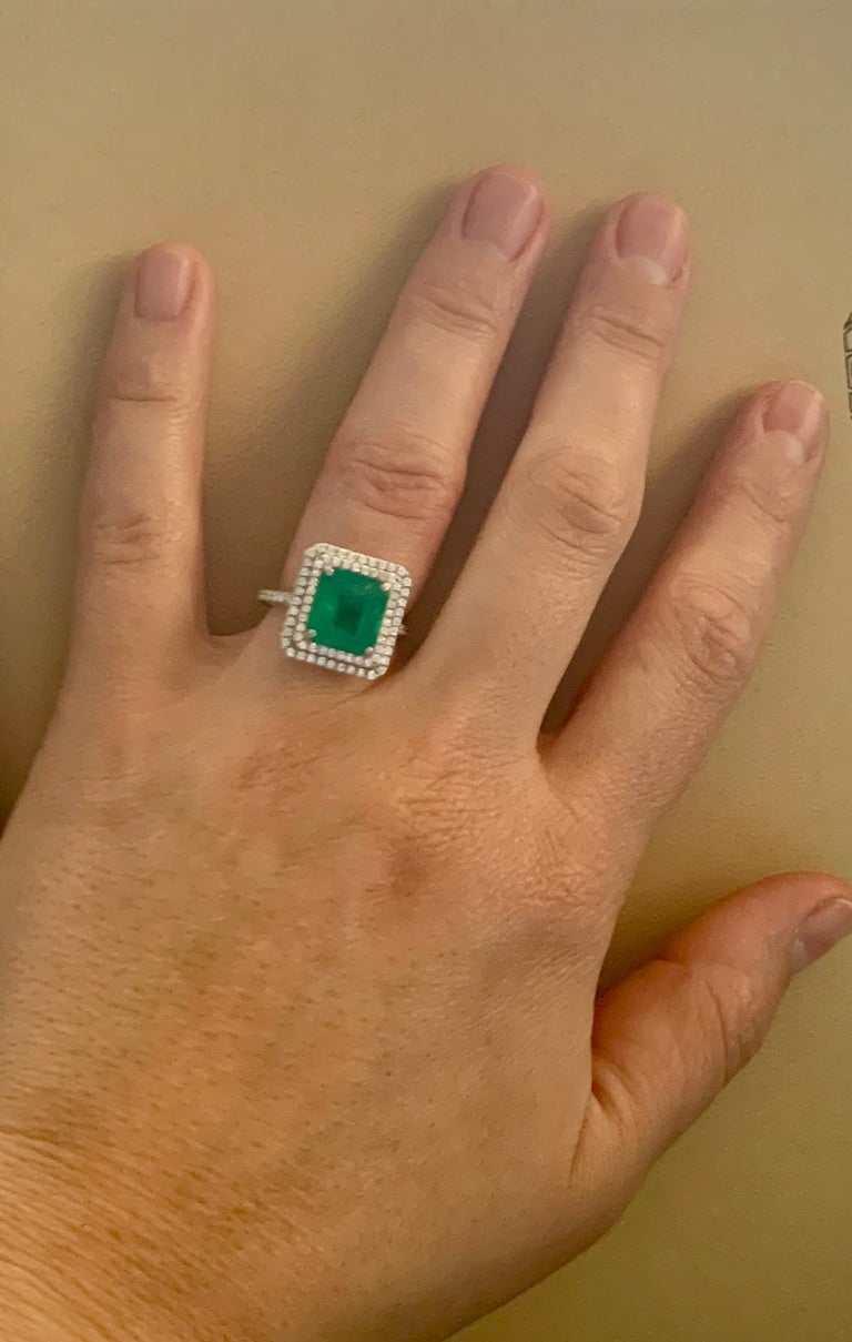 4 Carat Emerald Cut Colombian Emerald and Diamond Platinum Ring Estate For Sale 8