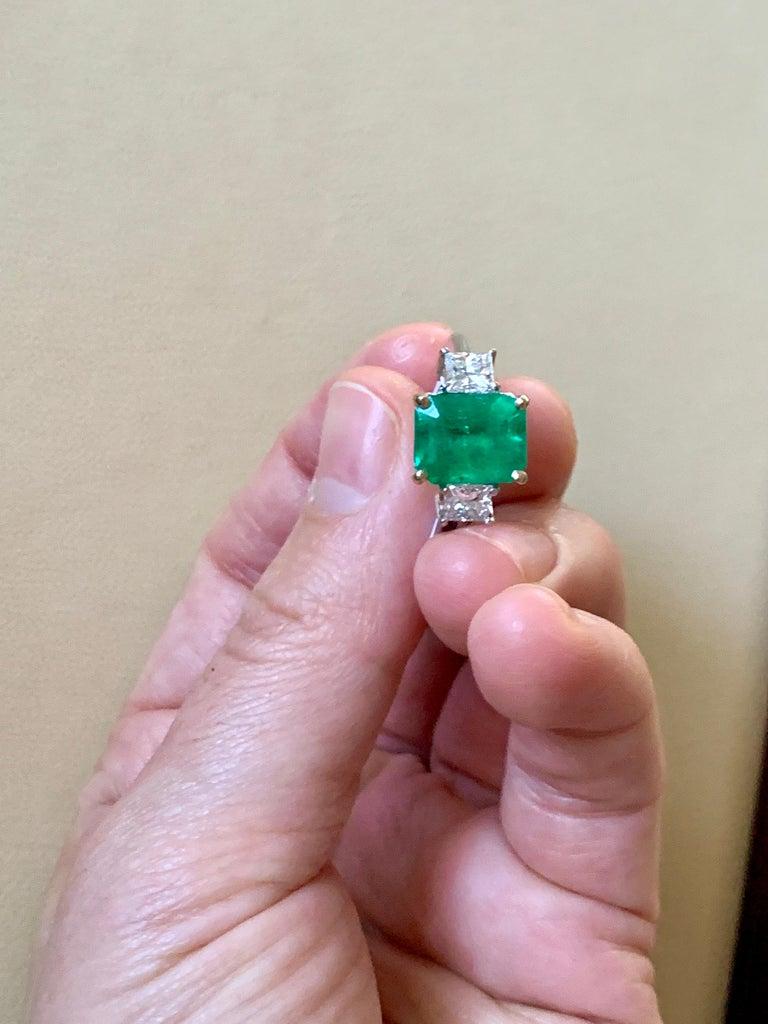 4.5 Carat Emerald Cut Colombian Emerald and 1.4 Carat Diamond 18 Karat Gold Ring 5