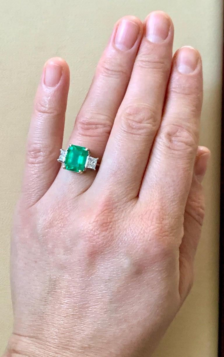 4.5 Carat Emerald Cut Colombian Emerald and 1.4 Carat Diamond 18 Karat Gold Ring 7