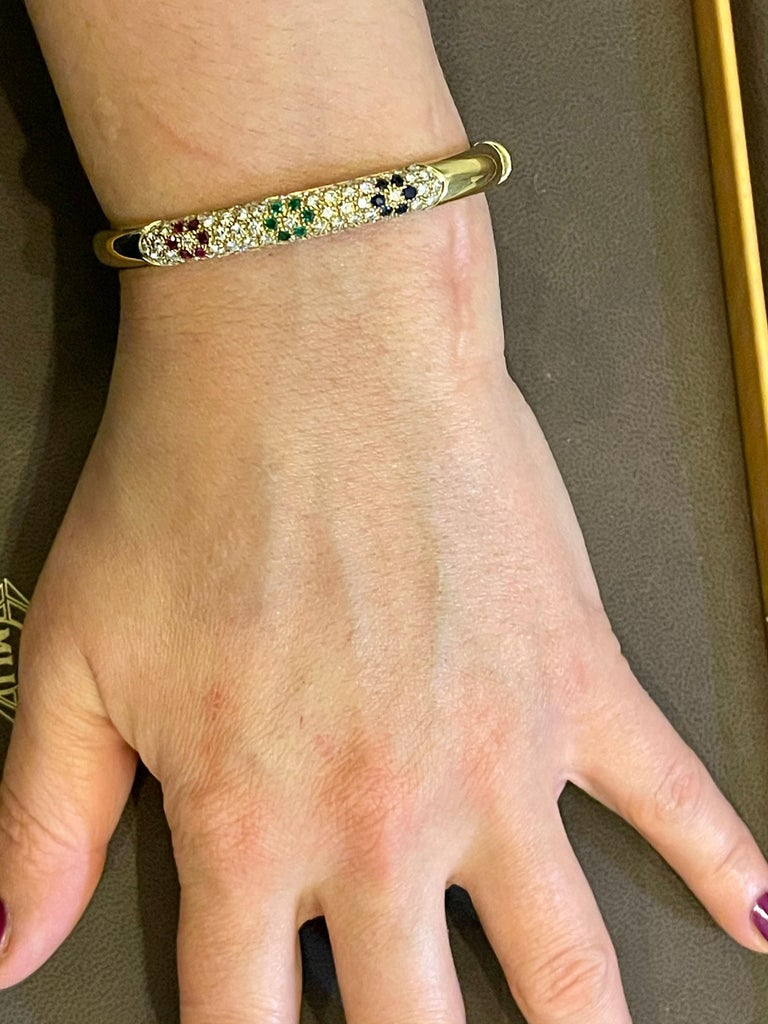 Emerald Ruby Sapphire and Diamond Cuff Bangle Bracelet in 18 Karat Yellow Gold For Sale 6