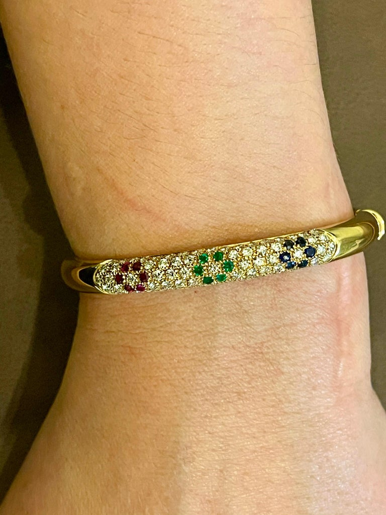 Emerald Ruby Sapphire and Diamond Cuff Bangle Bracelet in 18 Karat Yellow Gold For Sale 5