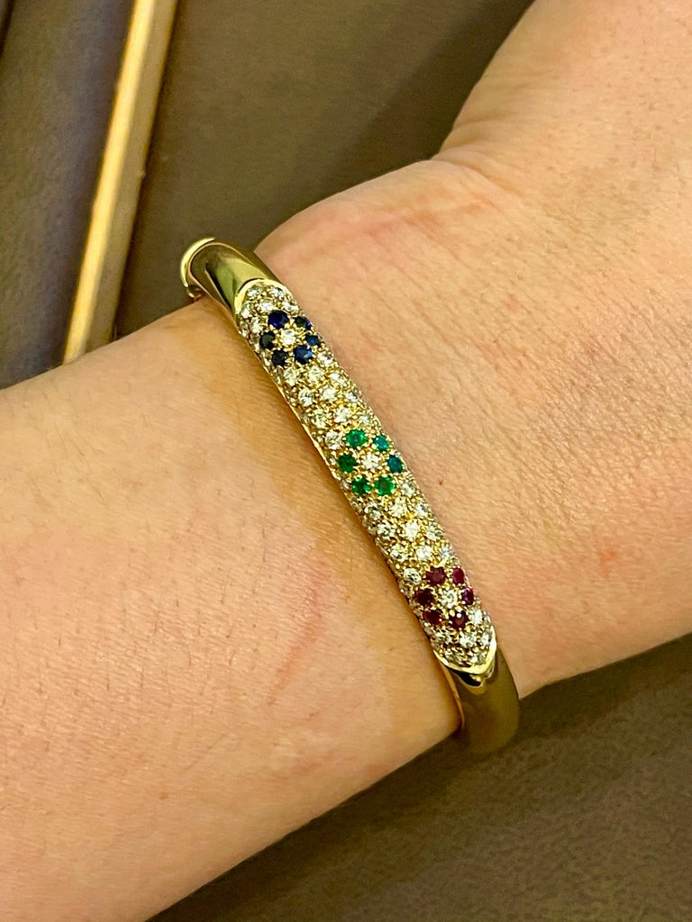 Emerald Ruby Sapphire and Diamond Cuff Bangle Bracelet in 18 Karat Yellow Gold For Sale 7
