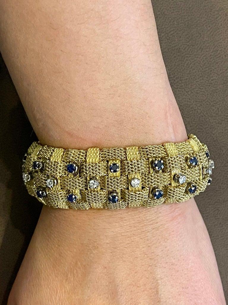 3 Carat Sapphire and 2 Carat Diamond Bracelet in 18 Karat Yellow Gold 116 Gm For Sale 10