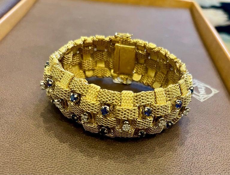 3 Carat Sapphire and 2 Carat Diamond Bracelet in 18 Karat Yellow Gold 116 Gm For Sale 13