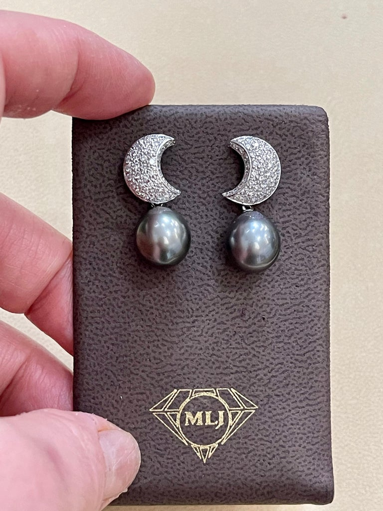 Grey Black Tahitian Cocktail Dangling Earrings with Diamonds 18 Karat White Gold For Sale 7