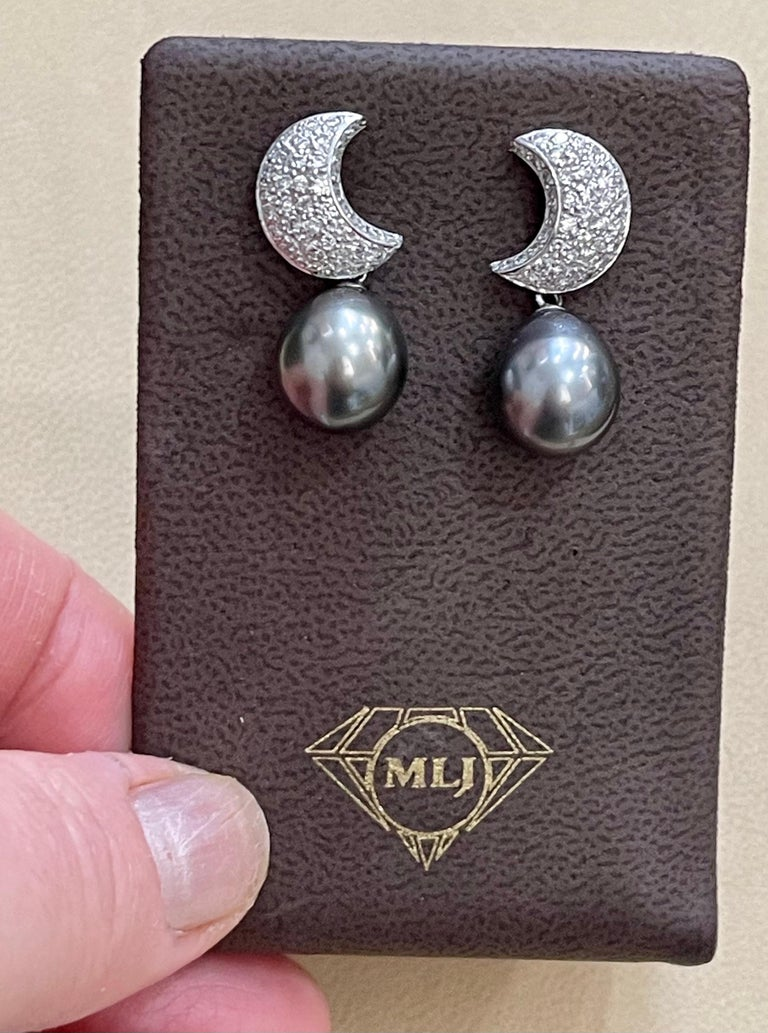Grey Black Tahitian Cocktail Dangling Earrings with Diamonds 18 Karat White Gold For Sale 8