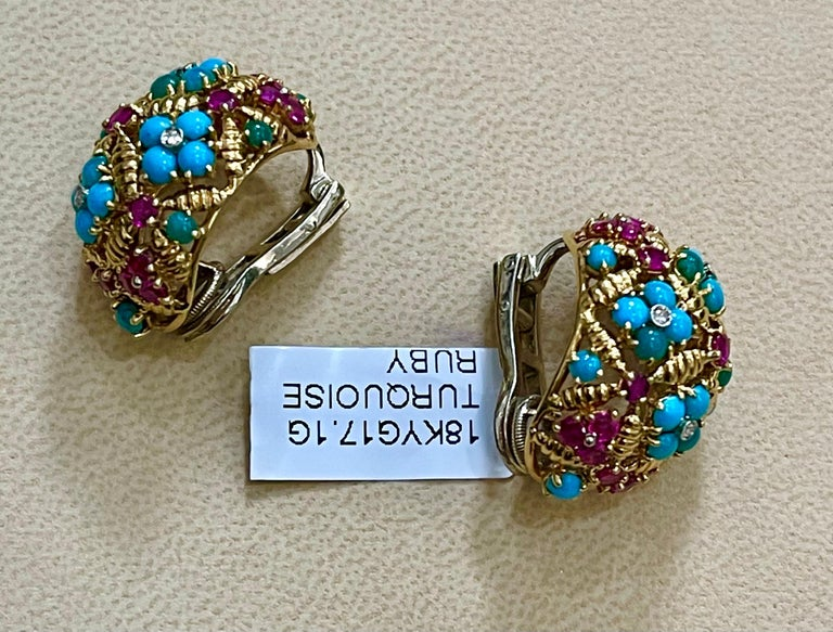 Diamond Ruby and Turquoise Clip Earrings in 18 Karat Yellow Gold 17 Grams For Sale 5